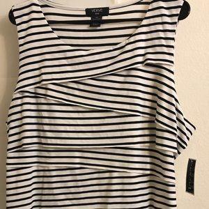 New sleeveless tank cream and black stripe